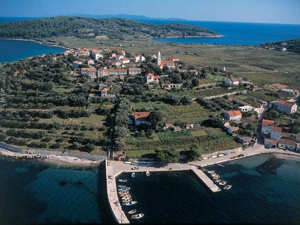 Aerial view of Lumbarda village, Korcula Island