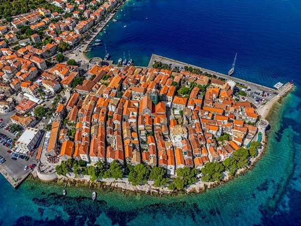 Aerial view of Korcula Old Town